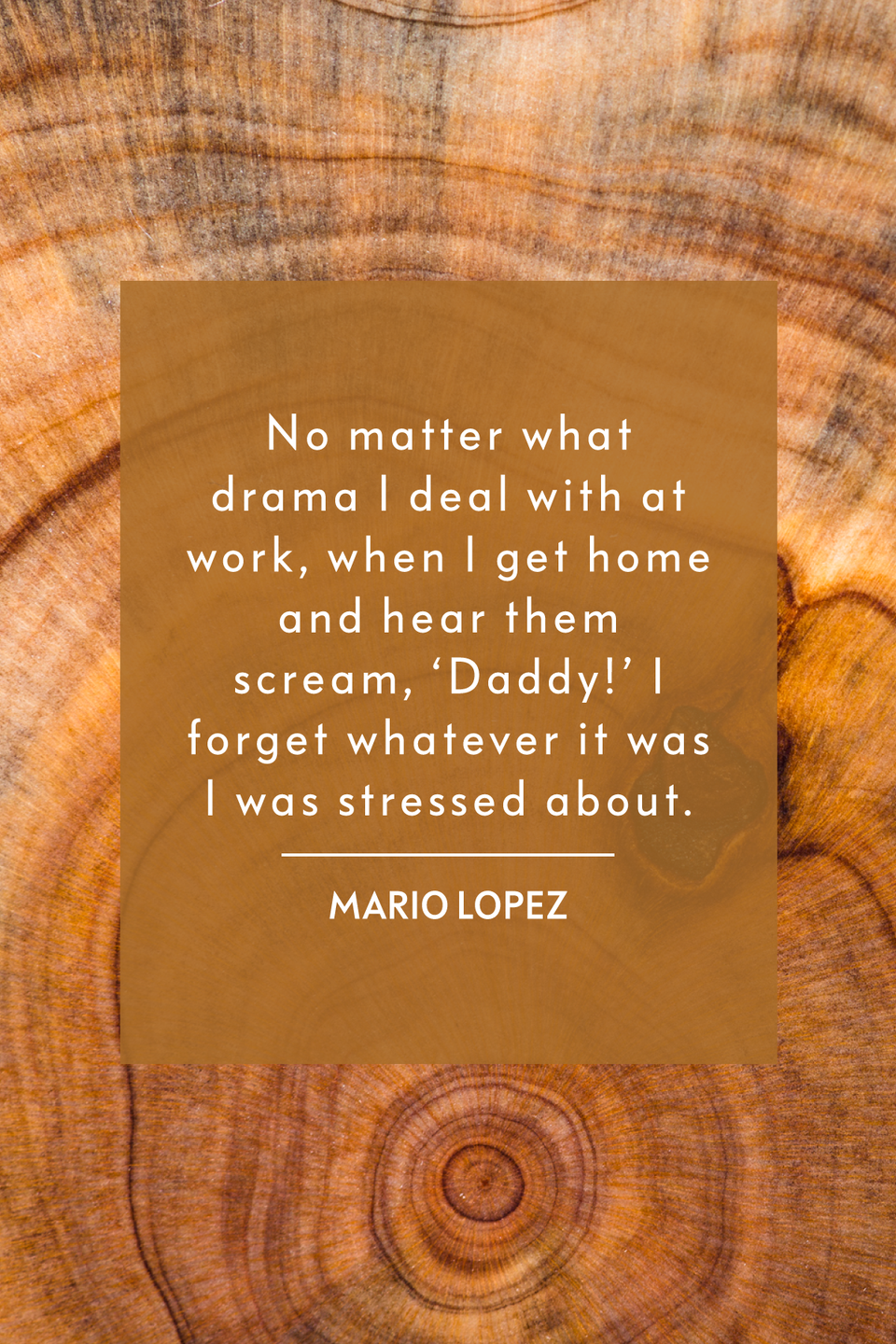 """<p>""""No matter what drama I deal with at work, when I get home and hear them scream, 'Daddy!' I forget whatever it was I was stressed about,"""" the host of <em>Extra</em> told <em><a href=""""https://people.com/parents/mario-lopez-fatherhood-summer-schedule-miami-beach-bonefish-grill/"""" rel=""""nofollow noopener"""" target=""""_blank"""" data-ylk=""""slk:People"""" class=""""link rapid-noclick-resp"""">People</a></em> in 2014.</p>"""