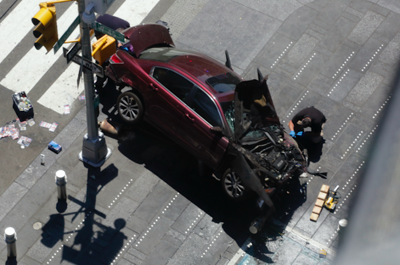 A photo taken of a crashed car in the aftermath. Photo: AP