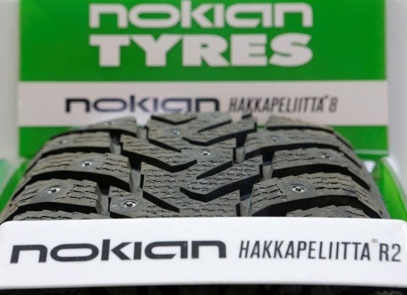 FILE PHOTO: A Nokian tyre is on display at a tyre assembling centre and shop in Moscow