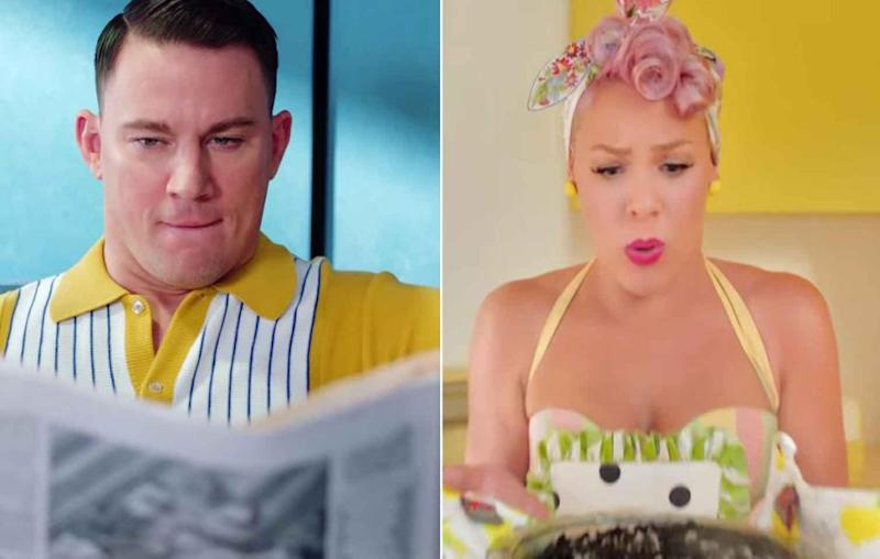 Pink roped in the divine Channing Tatum to star as her hubby in her new 1950s inspired music video. Source: YouTube / Vevo
