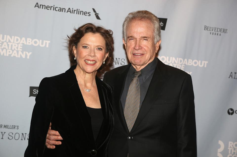 """NEW YORK, NY - APRIL 22:  Warren Beatty and Annette Bening pose at The Roundabout Theater Company's production of Arthur Miller's """"All My Sons"""" on Broadway  at The American Airlines Theatre on April 22, 2019 in New York City.  (Photo by Bruce Glikas/WireImage)"""