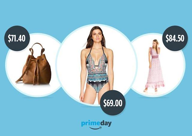A look at Amazon's Prime Exclusive brands, including a suede and leather cross body bucket bag by The Fix, a Coastal Blue one piece swimsuit, and Ella Moon maxi dress. (Photos Courtesy of Amazon Fashion)