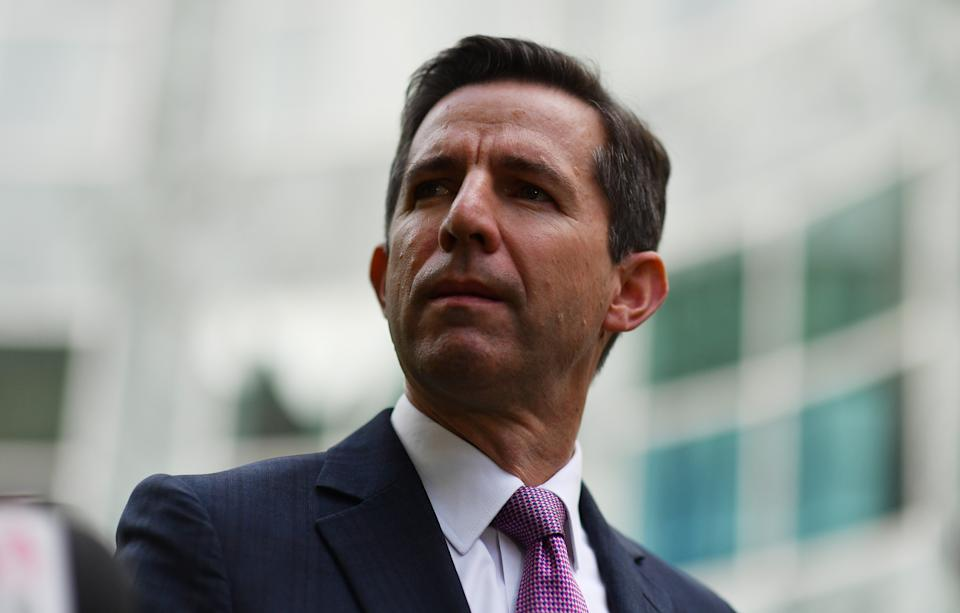 CANBERRA, AUSTRALIA - MAY 13: Minister for Finance Simon Birmingham holds a press conference in the Senate Courtyard at Parliament House on May 13, 2021 in Canberra, Australia. Labor leader Anthony Albanese will tonight respond to the Morrison government's third budget, handed down on Tuesday, which has an increased focus on women, with almost $354 million in funding allocated for women's health. Treasurer Josh Frydenberg also outlined more than $10 billion in spending on major infrastructure projects across Australia aimed to help create local jobs and boost productivity in the COVID-affected national economy. Aged care will receive more than $10 billion over the next four years, in direct response to the findings of the Royal Commission into Aged Care Quality and Safety. (Photo by Sam Mooy/Getty Images)