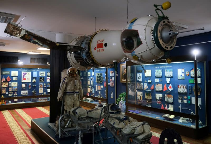 Cosmonaut suits and spacecraft on display with other exhibits at the Space Museum in Star City near Moscow