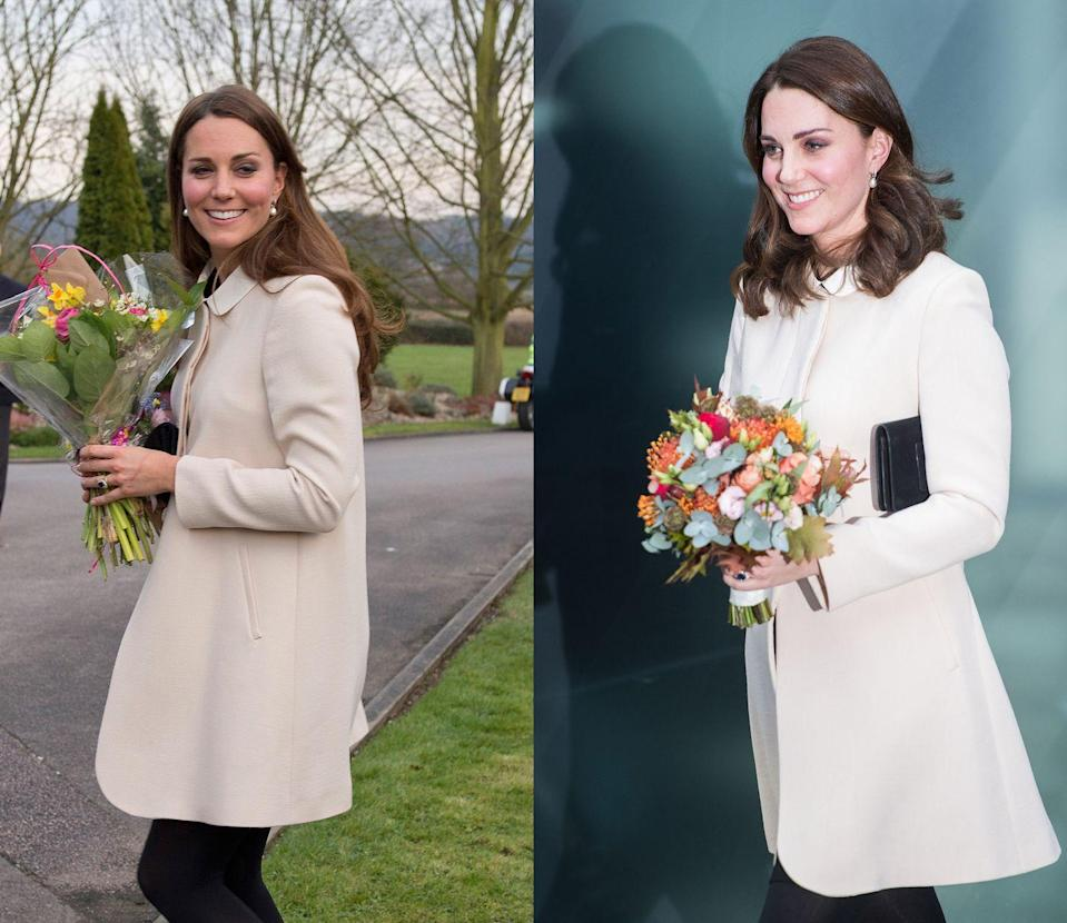 <p>Middleton debuted her GOAT cream coat while pregnant with Prince George in March 2013. She later brought it back into her maternity rotation while pregnant with Prince Louis in November 2017.</p>