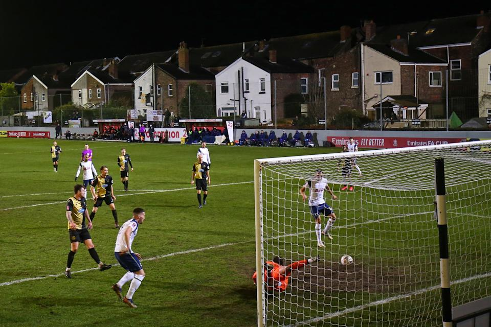 Tottenham routed eighth-tier Marine in the FA Cup on Sunday, but the outcome was never the point. (Photo by CLIVE BRUNSKILL/POOL/AFP via Getty Images)