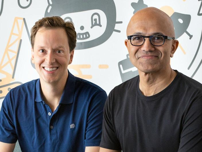 Incoming GitHub CEO Nat Friedman (left) and Microsoft CEO Satya Nadella (right).