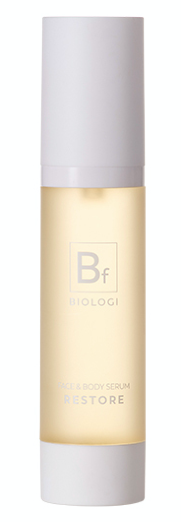 Who doesn't love a multi-purpose product? Biologi's Bf Restore Face & Body Serum is rich yet gentle in order to soothe and repair, leaving the skin feeling hydrated and soft. With finger lime, vitamin C, tryptophan and ferulic acid, it helps slow the signs of aging while providing a significant amount of UV protection.
