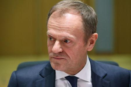President of the European Council Donald Tusk is seen at the start of EU Tripartite Social Summit in Brussels