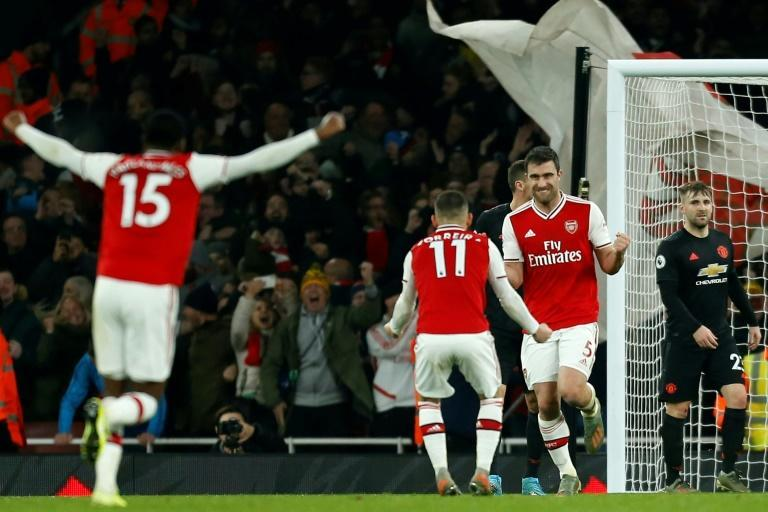 Arsenal defender Sokratis Papastathopoulos scored the second goal against Manchester United