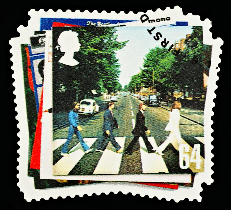 """""""Exeter, United Kingdom - March 07, 2010: British Postage Stamp showing the Abbey Road Album Cover from the Beatles Pop Group, circa 2007"""""""
