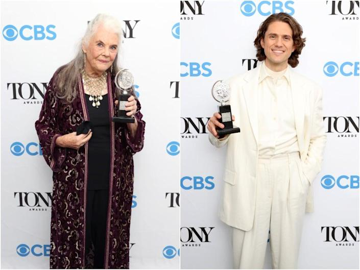 Lois Smith and Aaron Tveit with their awards at the 74th Tony Awards  (Getty Images)
