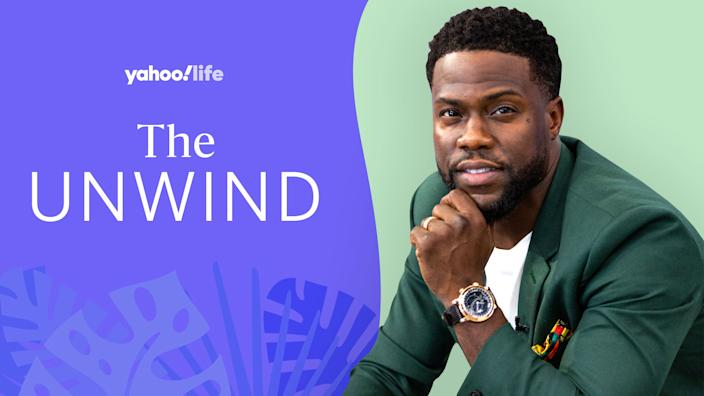 Kevin Hart dishes on using running as a release and his new mental health partnership with Headspace. (Image: Getty; design by Quinn Lemmers)