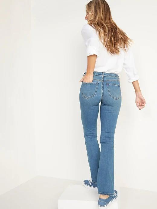 <p>We're loving how these <span>Old Navy Mid-Rise Medium-Wash Kicker Boot-Cut Jeans</span> ($35) look with a tucked, tailored white top but a flowing blouse would do, too.</p>