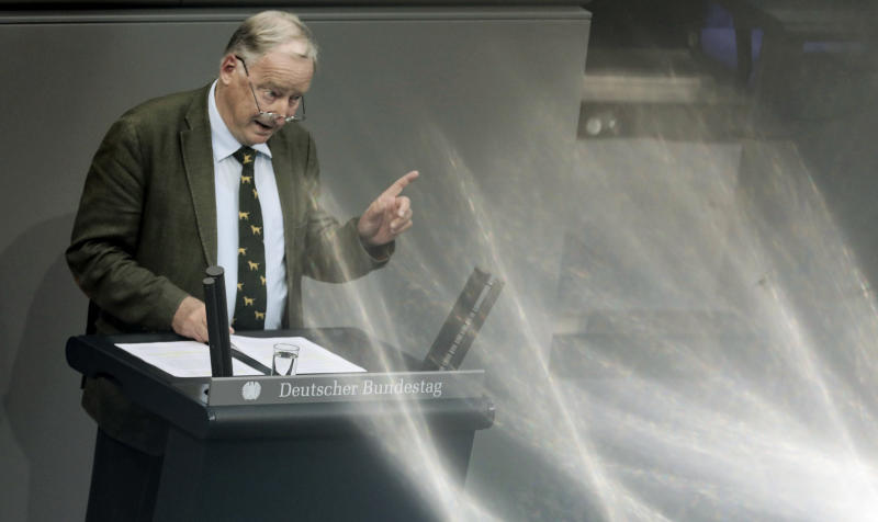 Alexander Gauland, co-faction leader of the Alternative for Germany party, delivers his speech during a plenary session of the German parliament Bundestag about the budget 2019, in Berlin, Wednesday, Sept. 12, 2018. (Kay Nietfeld/dpa via AP)