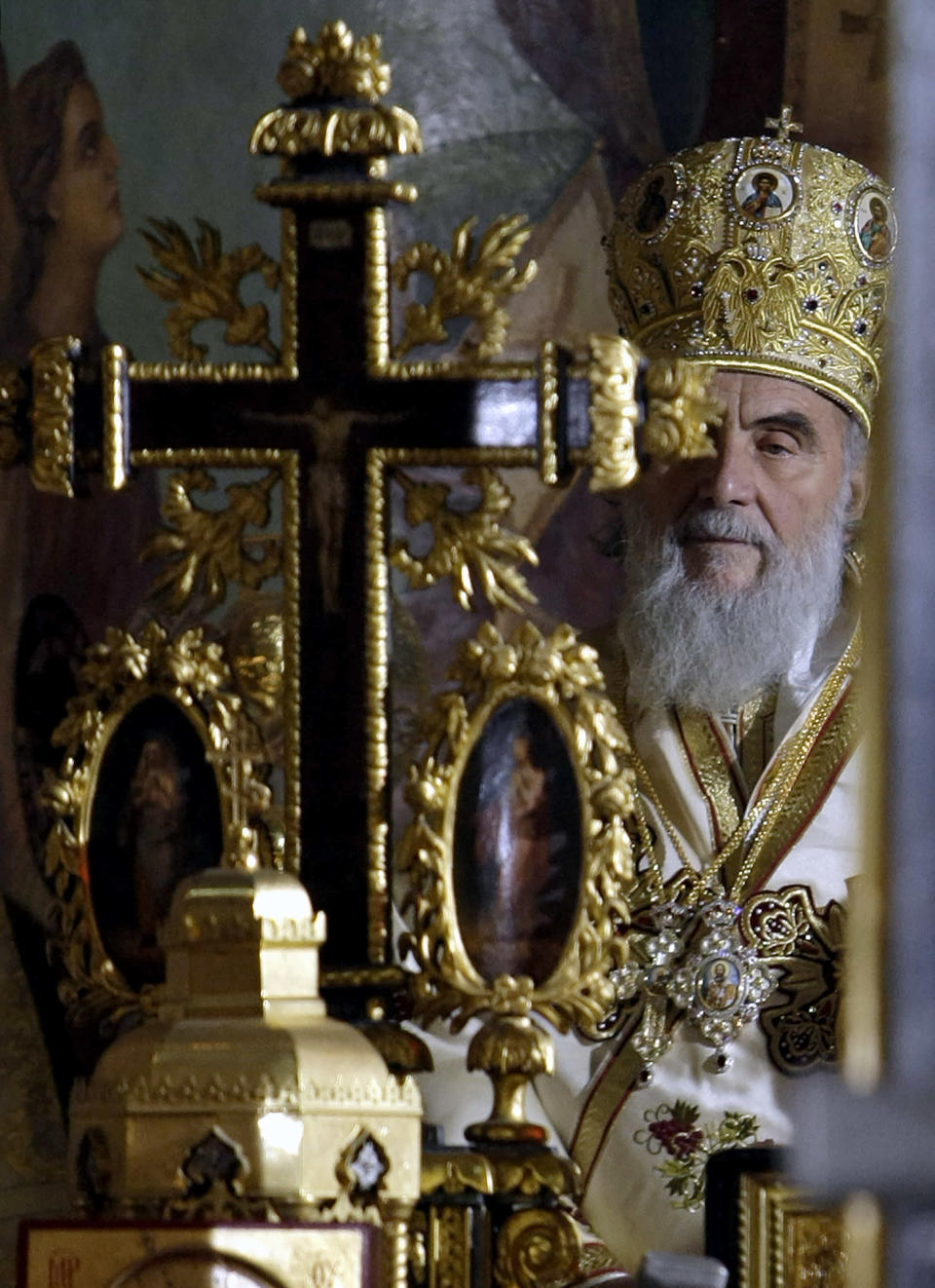 FILE - In this Jan. 23, 2010, file photo, Patriarch Irinej attends the ceremony liturgy in Belgrade's Congregational church, Serbia. Serbia's Orthodox Church said Friday, Nov. 20, 2020, the leader, Patriarch Irinej, has died after testing positive for the coronavirus. He was 90. (AP Photo/Darko Vojinovic, File)