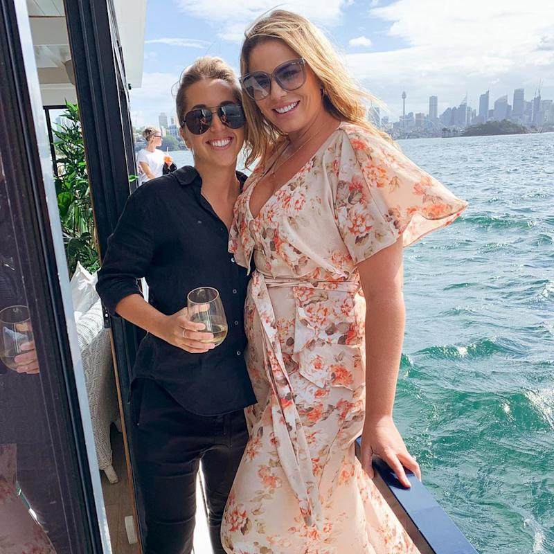 Fiona Falkiner and Hayley Willis on Sydney harbour