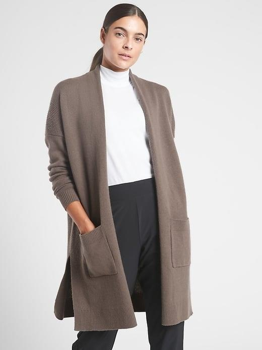 <p>This <span>Athleta Spirit Wool Cashmere Wrap</span> ($199) looks incredible chic for winter tossed over jeans or joggers. </p>