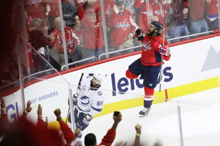 Devante Smith-Pelly of the Washington Capitals celebrates his goal as the Capitals blanked the Tampa Bay Lightning 3-0 to tie their Eastern Conference Final series 3-3