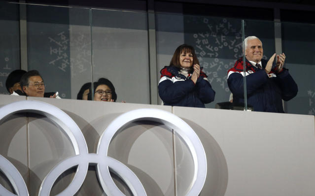 The United State Vice President Mike Pence, right, and his wife Karen Pence applaud during the opening ceremony of the 2018 Winter Olympics in Pyeongchang, South Korea. (AP)