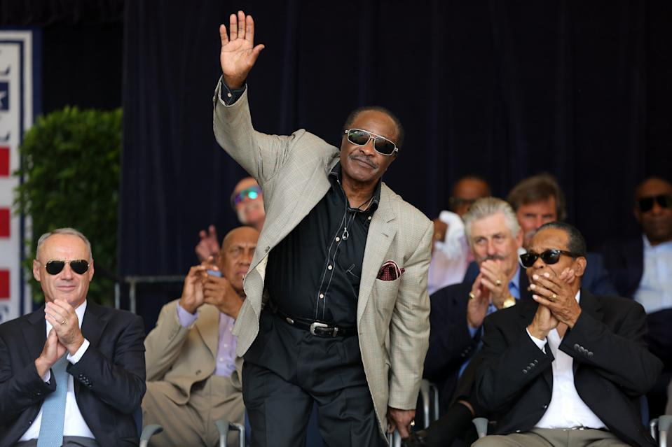 COOPERSTOWN, NY - JULY 20: Hall of Famer Joe Morgan acknowledges the crowd during the 2019 Hall of Fame Awards Presentation at the National Baseball Hall of Fame on Saturday July 20, 2019 in Cooperstown, New York. (Photo by Alex Trautwig/MLB Photos via Getty Images)