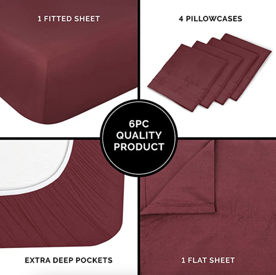 PHOTO: Amazon. Hotel Luxury Bed Sheets, Queen size, 6pcs