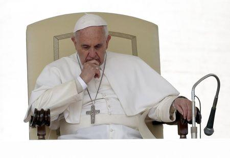 Pope Francis attends the weekly audience in Saint Peter's Square at the Vatican