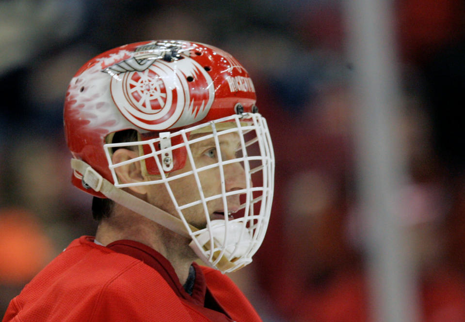 FILE - In this April 12, 2008 file photo, Detroit Red Wings goalie Dominik Hasek (39) of the Czech Republic looks on during the second period of Game 2 of the Western Conference quarterfinal hockey playoffs in Detroit. Hasek is expected to be part of the class of 2014 at the Hockey Hall of Fame, which will be announced Monday, June 23, 2014. (AP Photo/Carlos Osorio, File)