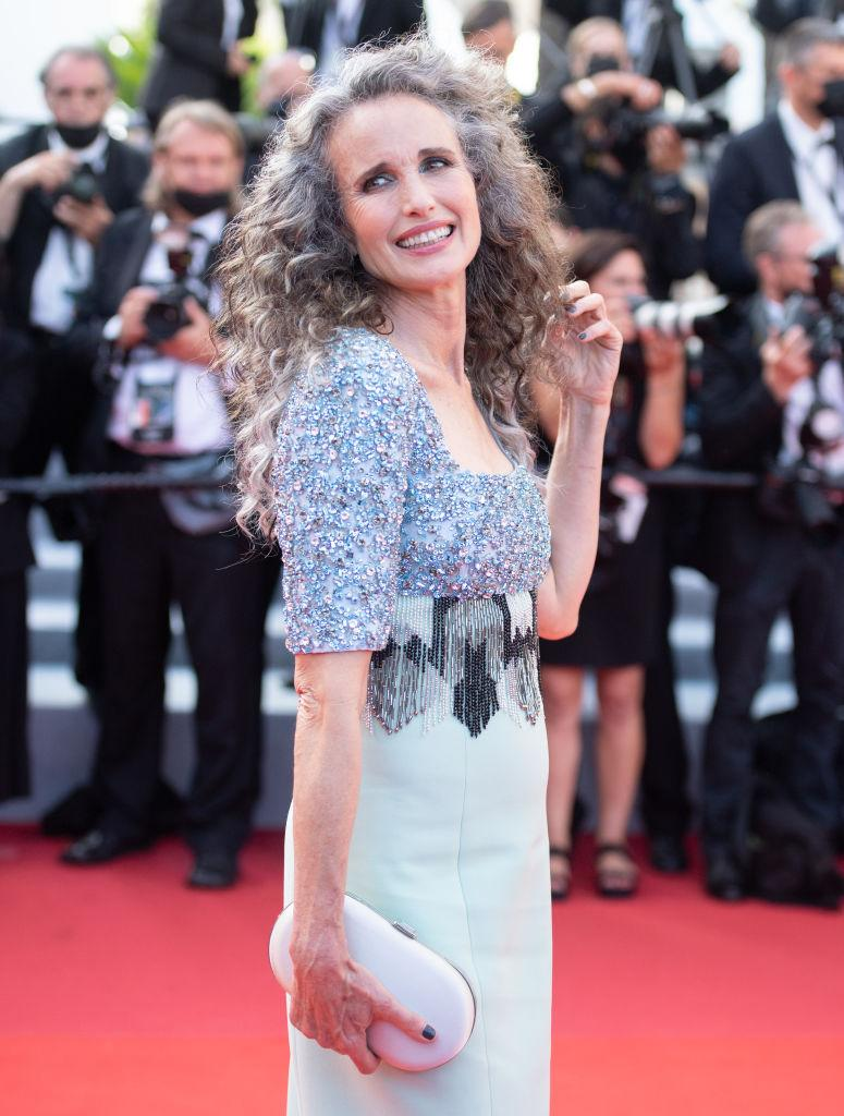Andie Macdowell embraced her natural hair colour at the Cannes premiere of