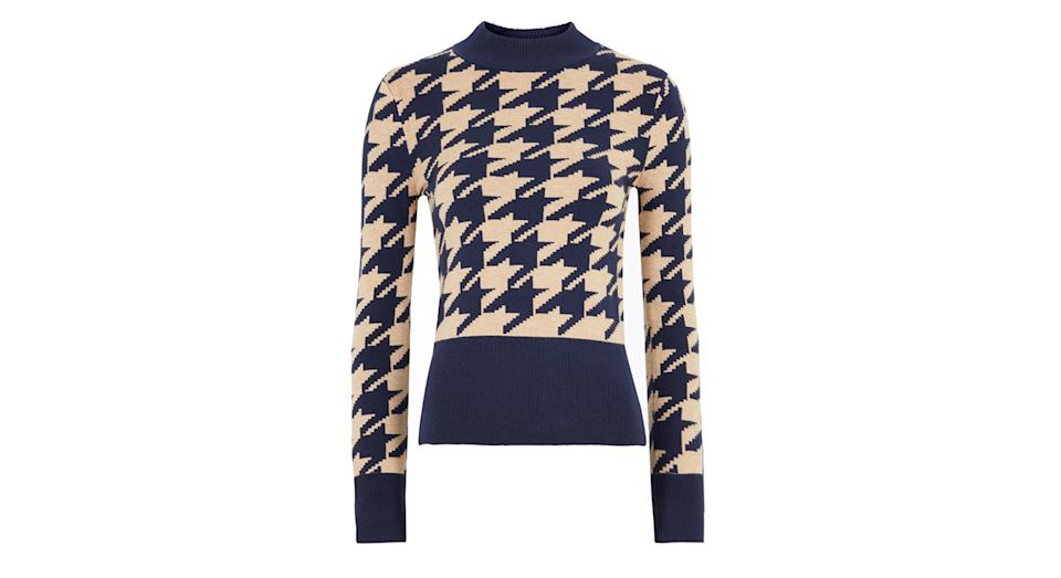Soft Touch Dogtooth Funnel Neck Jumper