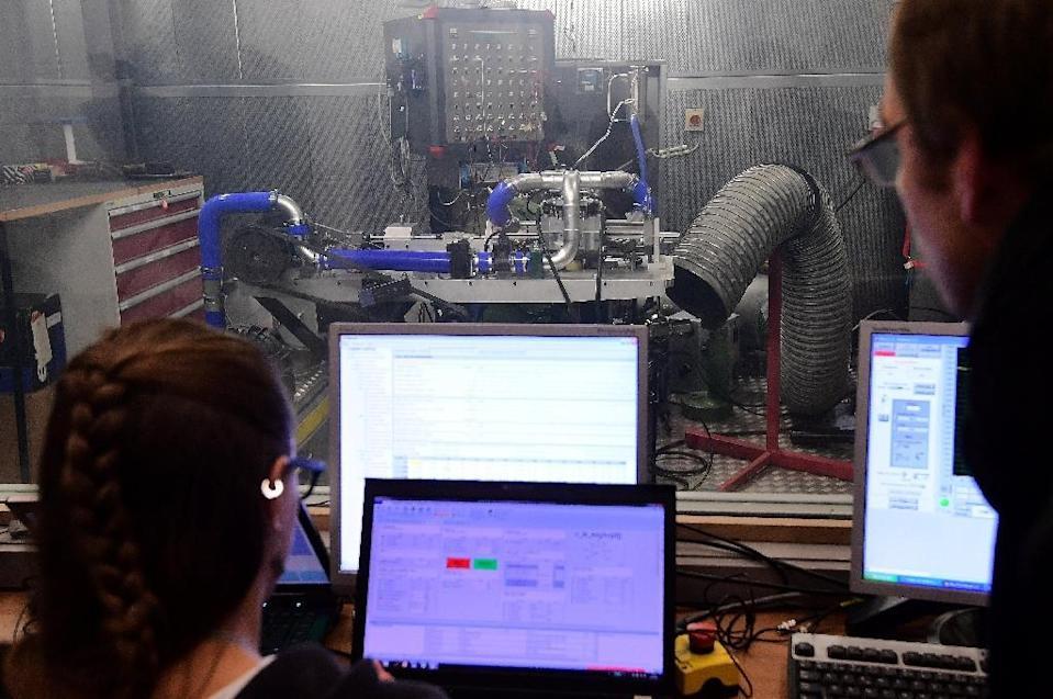 Israeli firm Aquarius Engines says its reinvented internal combustion engine can allow cars to travel over 1,600 kilometres (990 miles) on a single tank of fuel (AFP Photo/Emmanuel Dunand)