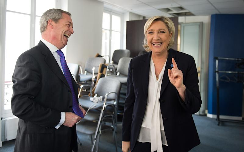 Nigel Farage with Marine Le Pen in Paris this week - Eliot Blondet/Abaca Press/Eliot Blondet/Abaca Press