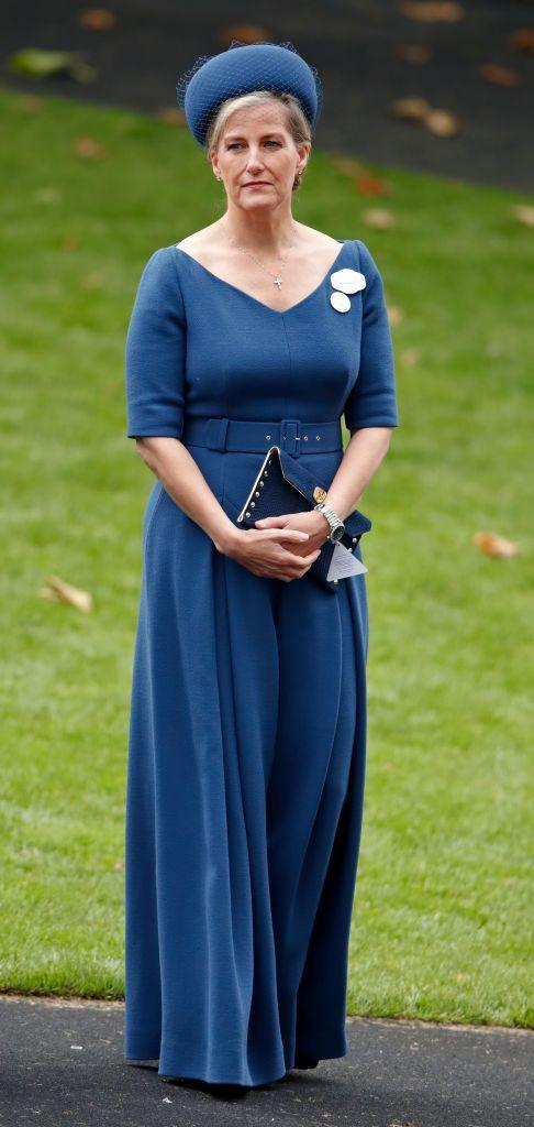 <p>Sophie, Countess of Wessex, paired a belted teal one piece with a matching hat for the 2019 Royal Ascot. </p>