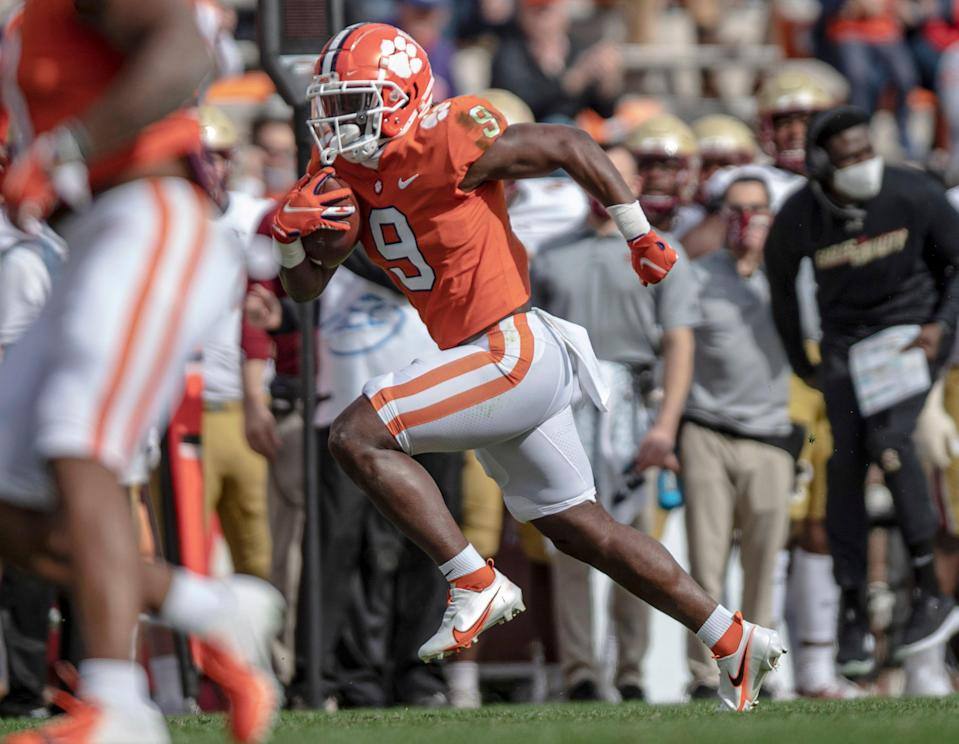 Travis Etienne rushed for 4,952 yards during his four seasons at Clemson.