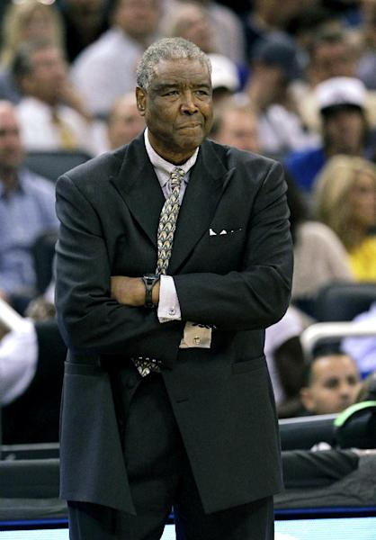 Charlotte Bobcats head coach Paul Silas watches his team on the court against the Orlando Magic during the first half of an NBA basketball game, Wednesday, April 25, 2012, in Orlando, Fla. (AP Photo/John Raoux)