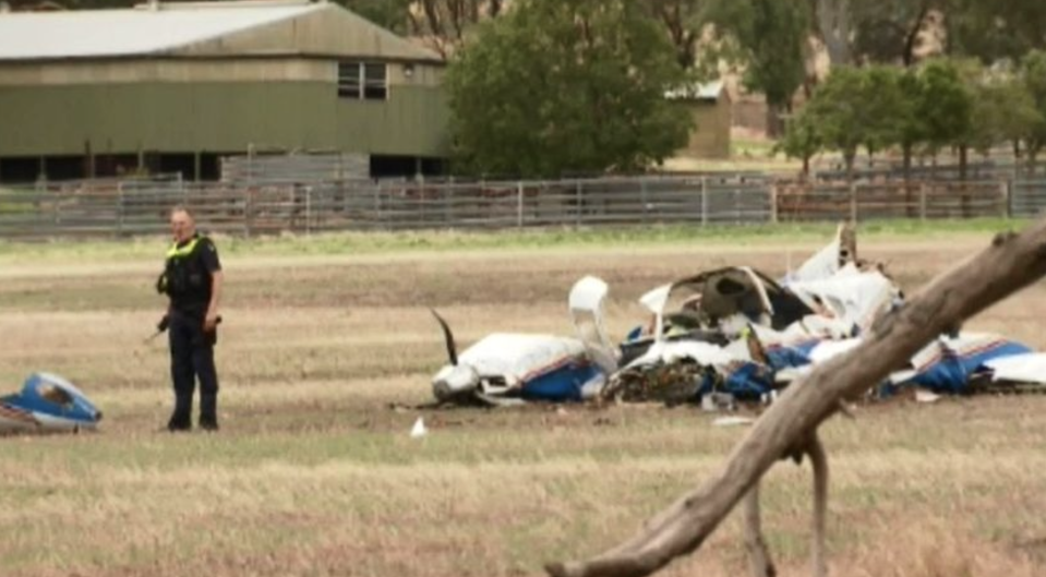 It is believed the two planes crash mid-air just 130km north of Melbourne. Source: Nine News