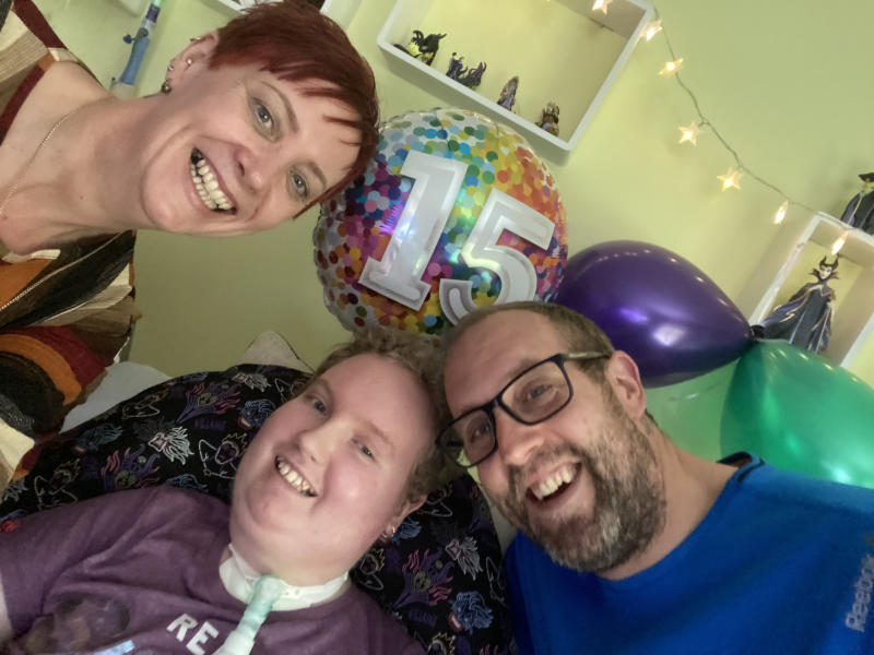 Undated family handout photo of Maisie Lossau, 15, with her mum, Dawn Lossau, 48 and dad Darrell Lossau. Thousands of seriously ill children are being put at risk due to shortages of ventilator equipment, a charity has warned.