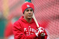 ST LOUIS, MO - OCTOBER 20: Jon Jay #19 of the St. Louis Cardinals stands on the field for batting practice prior to Game Two of the MLB World Series against the Texas Rangers at Busch Stadium on October 20, 2011 in St Louis, Missouri. (Photo by Jamie Squire/Getty Images)