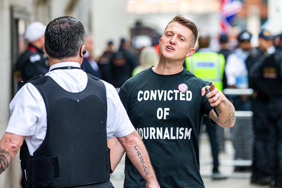 LONDON , UNITED KINGDOM - JULY 11: British far-right activist and former leader and founder of English Defence League (EDL), Tommy Robinson, whose real name is Stephen Yaxley-Lennon, arrives at the Old Bailey on July 11, 2019 in London, England. Tommy Robinson will be sentenced this morning after he was found to have committed contempt of court over a video he live-streamed on social media that featured defendants in a criminal trial. (Photo by Luke Dray/Getty Images)