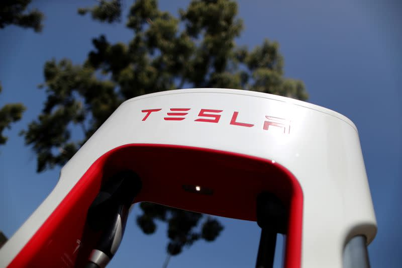 FILE PHOTO: A Tesla SuperCharger station is seen in Los Angeles