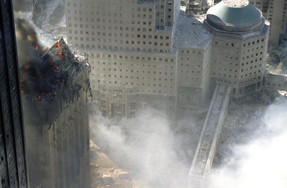 An aerial view shows the extent of the damage to the World Trade Centre. (Caters)