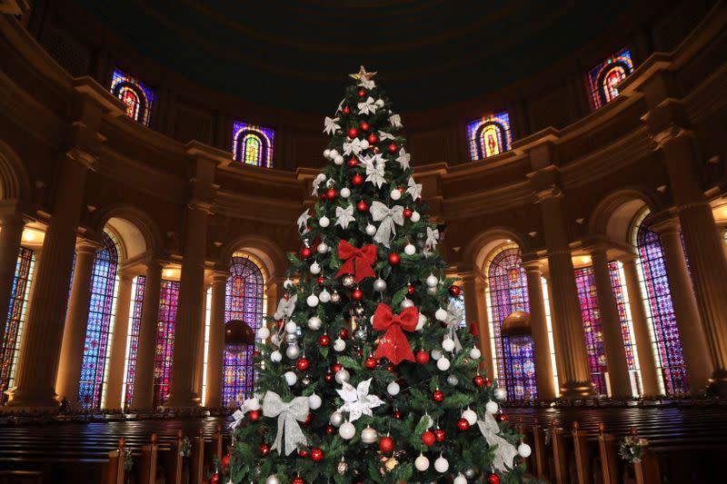A Christmas tree is seen inside the Basilica Notre Dame is during the celebration of Christmas in Yamoussoukro