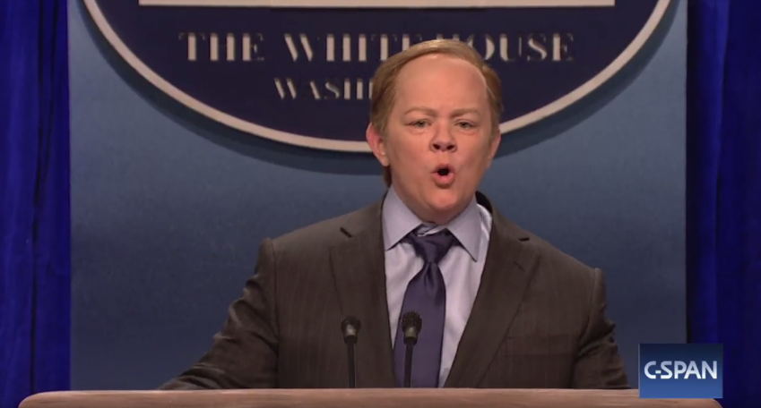 <p>When Melissa McCarthy made her first surprise appearance on <em>SNL</em> in February as then-press secretary Sean Spicer, it was a seismic moment. Already on a roll thanks to Alec Baldwin's Donald Trump parody, the show elevated its comedy game even more. McCarthy's impersonation was perfect — she nailed Spicer's shouting, his gum-chewing, his rage, and his tendency to, uh, exaggerate the truth. —<em>KW</em><br> (Photo: NBC) </p>
