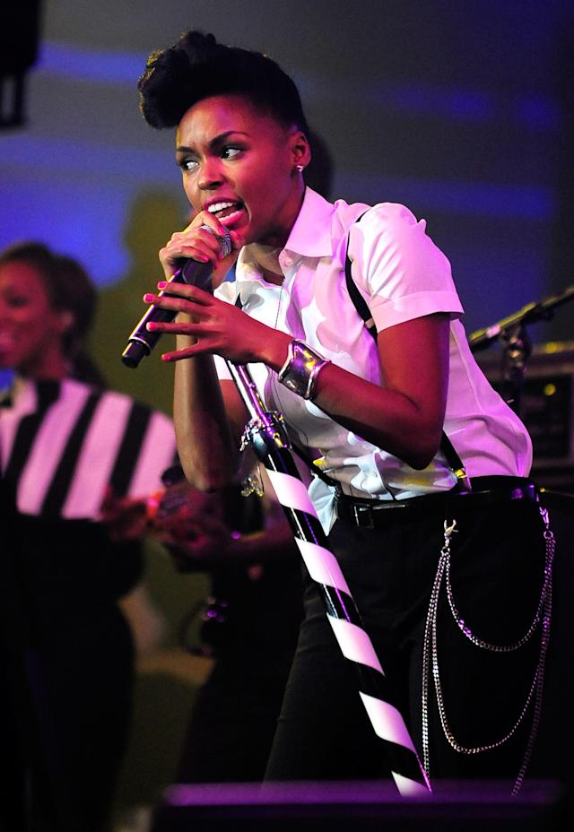NEW ORLEANS, LA - FEBRUARY 02: Singer Janelle Monae performs onstage at Bud Light Presents Stevie Wonder and Gary Clark Jr. at the Bud Light Hotel on February 2, 2013 in New Orleans, Louisiana. (Photo by Stacy Revere/Getty Images for Bud Light)