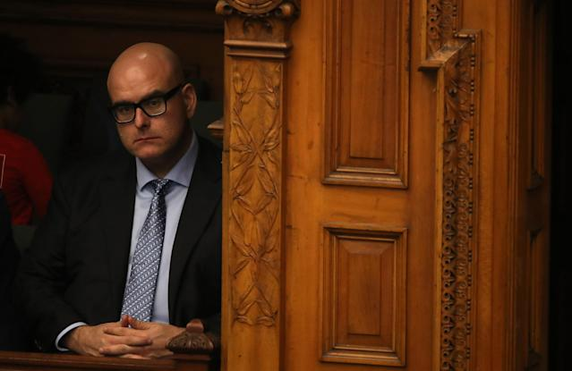 TORONTO, ON- MARCH 9 - After winning the Liberal leadership convention over the weekend Steven Del Duca sits in the members gallery as Question Period begins at Queen's Park in Toronto. March 9, 2020. (Steve Russell/Toronto Star via Getty Images)