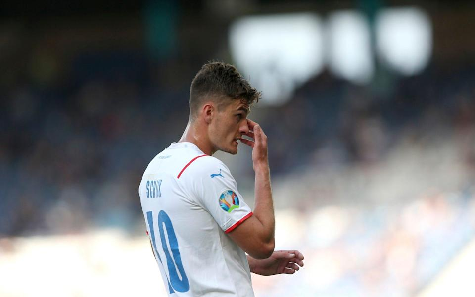 Czech Republic's Patrik Schick touches his nose during the Euro 2020 soccer championship group D match between Croatia and the Czech Republic at the Hampden Park stadium in Glasgow, Friday, June 18, 202 - Robert Perry, Pool via AP)