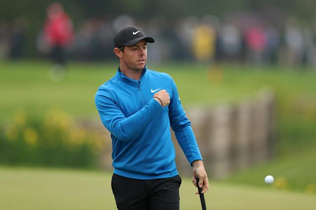 Golf - European Tour - BMW PGA Championship - Wentworth Club, Virginia Water, Britain - May 24, 2018 Northern Ireland's Rory McIlroy reacts during the first round Action Images via Reuters/Peter Cziborra