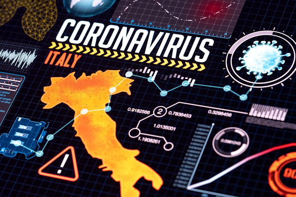 Pandemic covid-19 data and research concept. Hud style geographic analyze data on futuristic technology screen. Yellow to red colors are showing infection levels on Italy country map. (Photo: photoman via Getty Images)