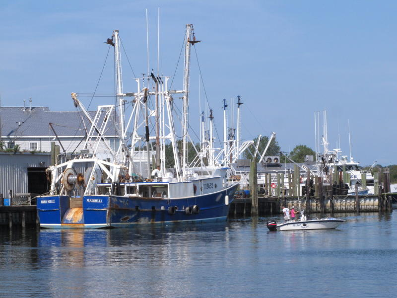 In this Sept. 11, 2019 photo, a commercial fishing boat is tied up at the dock at a seafood processing company in Point Pleasant Beach, N.J. Although they support effort to fight climate change and its impact on the world's oceans, the fishing industry fears it could be harmed by one of the promising solutions: the offshore wind energy industry. At a Congressional subcommittee hearing Monday Sept. 16, 2019 in New Jersey, fishermen asked for a seat at the table when important wind energy decisions are made, including where projects are located. (AP Photo/Wayne Parry)