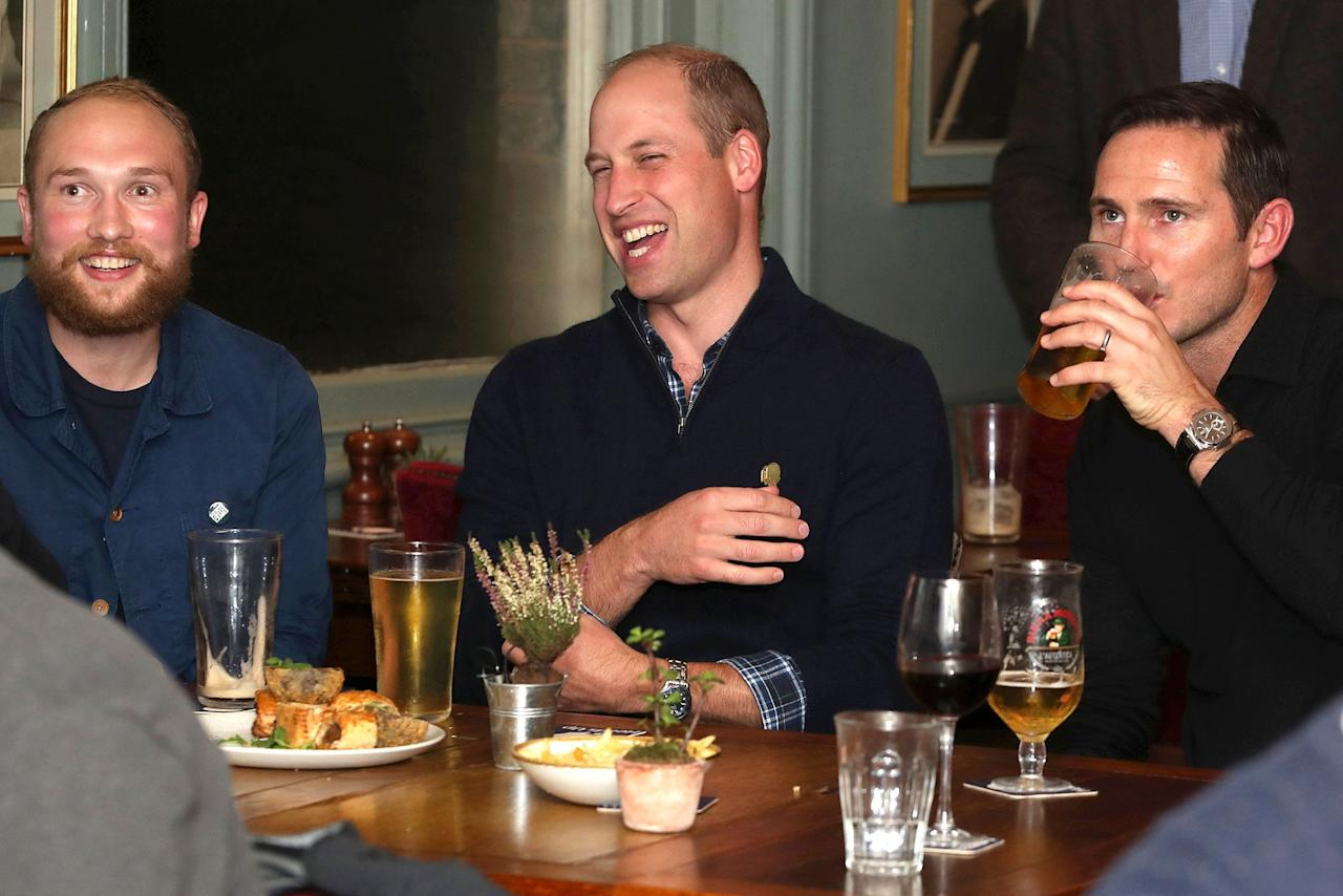 Prince William joins football fans in support of mental health charities Mind and CALM to watch the England vs. Czech Republic match at the Prince Albert pub on Friday night.